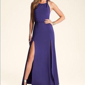 NWOT Bebe Double Slit Halter Maxi Dress